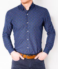 Stilingi tamsiai mėlyni vyriški marškiniai ilgomis rankovėmis internetu pigiau K463 11493