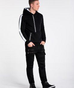 Juodas vyriškas džemperis su gobtuvu internetu pigiau B1019 14289-1
