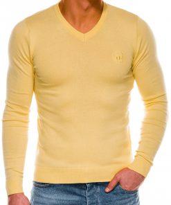 Šviesiai geltonas vyriškas megztinis internetu pigiau Ombre E74 14327