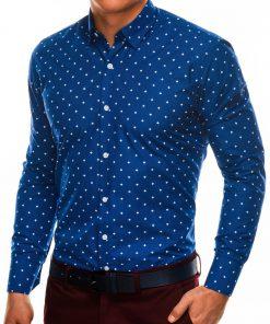 Stilingi sodriai mėlyni vyriški marškiniai ilgomis rankovėmis internetu pigiau K463 11494