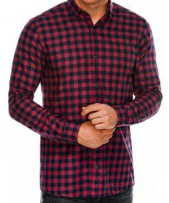 Raudoni languoti marškiniai vyrams ilgomis rankovėmis internetu pigiau K509 14334