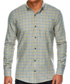 Geltoni languoti marškiniai vyrams ilgomis rankovėmis internetu pigiau K509 14335