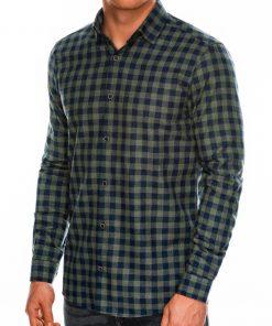 Chaki languoti marškiniai vyrams ilgomis rankovėmis internetu pigiau K509 14336