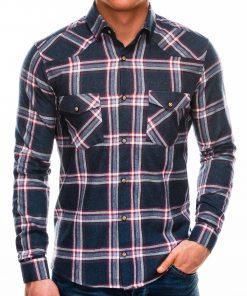 Tamsiai mėlyni languoti marškiniai vyrams ilgomis rankovėmis internetu pigiau K510 14339