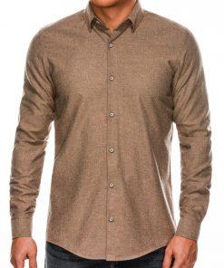 Stilingi šviesiai rudi vyriški marškiniai ilgomis rankovėmis internetu pigiau K512 14345