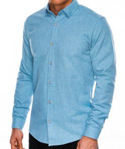 Stilingi šviesiai mėlyni vyriški marškiniai ilgomis rankovėmis internetu pigiau K512 14346
