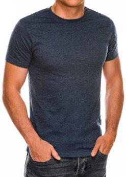 Vienspalviai tamsiai mėlyni melanžiniai vyriški marškinėliai internetu pigiau Lak S884 7577
