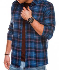 Tamsiai mėlyni languoti vyriški marškiniai ilgomis rankovėmis internetu pigiau K511 14343