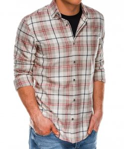 Rusvi languoti vyriški marškiniai ilgomis rankovėmis internetu pigiau K511 14344