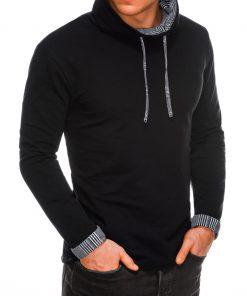Juodas vyriškas džemperis su stačia apykakle internetu pigiau B1015 14355-2