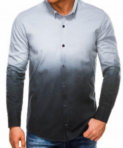 Stilingi tamsiai pilki vyriški marškiniai ilgomis rankovėmis internetu pigiau K514 14373