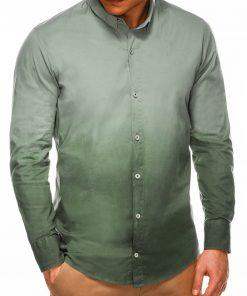 Stilingi chaki spalvos vyriški marškiniai ilgomis rankovėmis internetu pigiau K514 14375