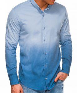 Stilingi šviesiai mėlyni vyriški marškiniai ilgomis rankovėmis internetu pigiau K514 14376