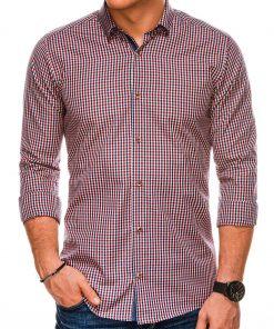 Raudoni languoti marškiniai vyrams internetu pigiau K534 14441
