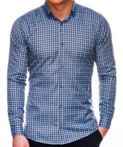 Mėlyni languoti marškiniai vyrams internetu pigiau K520 14444