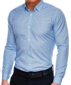 Stilingi šviesiai mėlyni vyriški marškiniai ilgomis rankovėmis internetu pigiau K516 14445