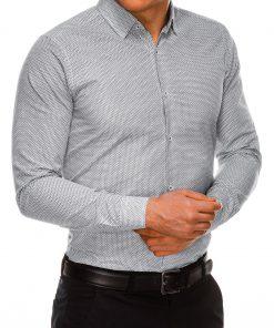 Stilingi juodi vyriški marškiniai ilgomis rankovėmis internetu pigiau K516 14446