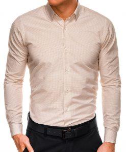 Stilingi rudi-smėlio vyriški marškiniai ilgomis rankovėmis internetu pigiau K516 14447-1