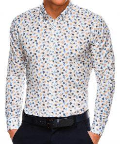 Madingi marginti vyriški marškiniai ilgomis rankovėmis internetu pigiau K518 14453