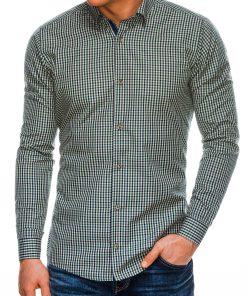 Žali languoti marškiniai vyrams internetu pigaiu K534 14456