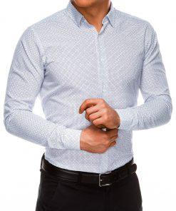 Stilingi balti marškiniai vyrams ilgomis rankovėmis internetu pigiau K517 14459