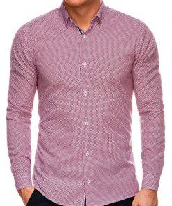 Stilingi raudoni vyriški marškiniai ilgomis rankovėmis internetu pigiau K535 14462