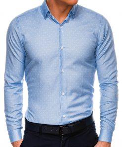 Šviesiai mėlyni marginti marškiniai vyrams ilgomis rankovėmis internetu pigiau K528 14463-1