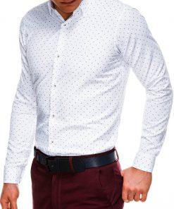 Balti marškiniai vyrams ilgomis rankovėmis internetu pigiau K524 14466-3