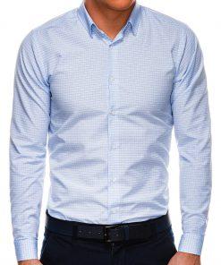 Šviesiai mėlyni languoti marškiniai vyrams ilgomis rankovėmis internetu pigiau K522 14467-1