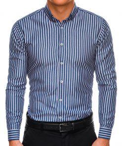 Tamsiai mėlyni dryžuoti vyriški marškiniai ilgomis rankovėmis internetu pigiau K521 14468-1