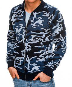Mėlynas kamufliažinis vyriškas džemperis Bomber internetu pigiau B1028 14474-3