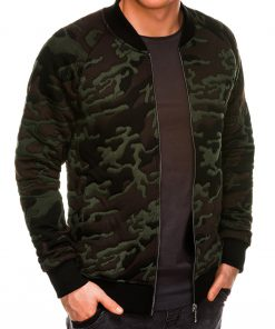 Žalias kamufliažinis vyriškas džemperis Bomber internetu pigiau B1028 14476-1