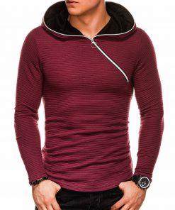 Tamsiai raudonas vyriškas džemperis su gobtuvu internetu pigiau B1020 14478-1