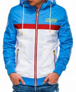 Mėlyna-balta pavasarinė vyriška striukė internetu pigiau C438 14482-1