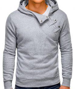 Pilkos spalvos vyriškas džemperis vyrams su gobtuvu internetu pigiau Paco 148-4
