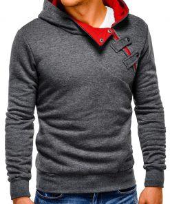 Tamsiai pilkos-raudonos spalvos vyriškas džemperis vyrams internetu pigiau Paco 162-5