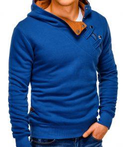 Tamsiai mėlynos-rudos spalvos vyriškas džemperis vyrams internetu pigiau Paco 181-4