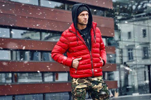 Raudona rudeninė-pavasarinė vyriška striukė internetu pigiau Uffo C384 10565-10