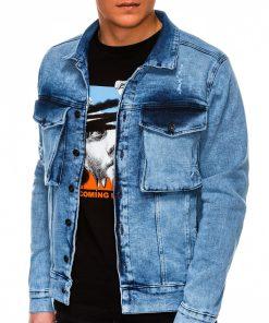 Mėlyna džinsinė striukė vyrams internetu pigiau C403 13524-1-1