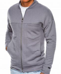 Pilkas džemperis vyrams užsegamas užtrauktuku internetu pigiau B1022 14500-4