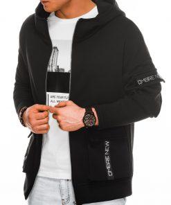 Juodas vyriškas džemperis su gobtuvu internetu pigiau B1049 14504-1