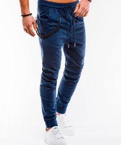 Tamsiai mėlynos jogger vyriškos kelnės internetu pigiau P908 14656-2