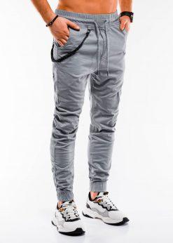 Šviesiai pilkos jogger vyriškos kelnės internetu pigiau P908 14657-2