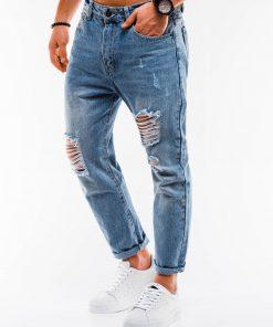 Šviesiai mėlyni plėšyti džinsai vyrams internetu pigiau P889 14665-5