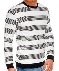 Baltas-juodas dryžuotas vyriškas megztinis internetu pigiau B1065 14679-1