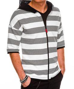 Dryžuotas vyriškas džemperis trumpomis rankovėmis internetu pigiau B1054 14680-1