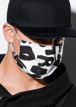 Juoda-balta medvilninė daugkartinė veido kaukė pigiau A260 14709-1