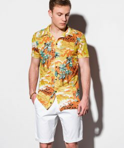 Gėlėti vyriški marškiniai trumpomis rankovėmis internetu pigiau K548 14714-2