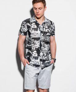 Juodi vyriški marškiniai trumpomis rankovėmis internetu pigiau K549 14715-1