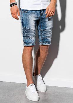 Mėlyni džinsiniai šortai vyrams internetu pigiau W056 14731-3